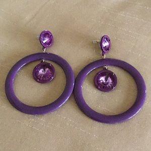 Jewelry - 💥SALE PURPLE ACRYLIC DANGLING HOOP POST EARRINGS